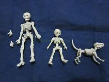 "Set of Mr. Bones, Child and Dog Skeleton Fully Posable Action Figure Set 2""-3"""