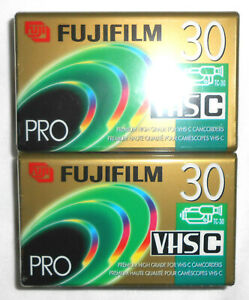 LOT OF TWO (2): New Sealed Fuji FujiFilm VHS-C Pro PHG TC-30 Camcorder Tapes NIP