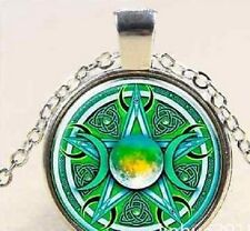 Glass Cabochon GREEN CELTIC MOON  PENTACLE PENTAGRAM Pendant Necklace UK Seller