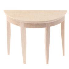 1/12 Dollhouse Miniature Wooden Half Round Table Model Furniture AccessorieZh