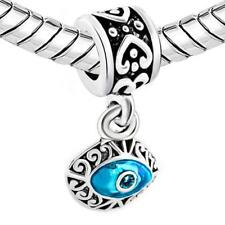 2 Sided Blue Evil Eye Protection Dangle Charm Jewelry Bead Fits European Compati