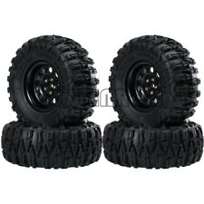 "Black 2.2"" Metal Beadlock Wheel Rims & 120MM Tires For 1/10 RC Crawler Car TRX4"