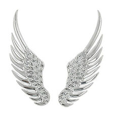 Car Silver Tone Alloy Angel Wings Badge Stickers 2 Pcs D5Y6