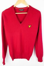 Lyle & Scott Vintage Women Jumper Pure New Wool Red V Neck size S