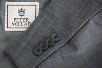 Peter Millar Gray Sharkskin Sky Blue Windowpane Wool 2 Pc Suit Jacket Pants 42L