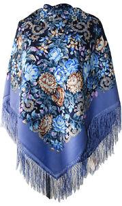 Authentic Large Russian Pavlovo Posad Scarf Shawl Stole Wrap 100% Wool 125x125cm