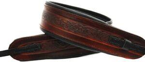 "Real Brown Leather 3"" Wide Cradle Mechanism Banjo Strap"