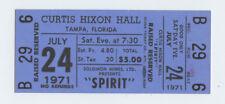 SPIRIT Ticket 1971 Jul 24 Curtis Hixon Hall Tampa FL Unused