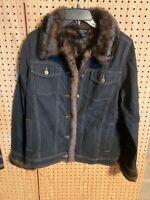 Dennis Basso Jean Jacket W/Faux Fur Trim Lining Is Removable To Wear as a Vest