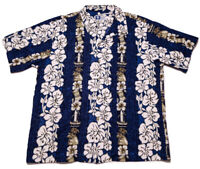 RJC Hawaiian Shirt Blue Flowers Palms Blue XL Fit