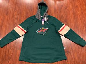 Adidas Women's NHL Hockey Minnesota Wild Platinum Crew Jersey Hoodie XXL 2XL