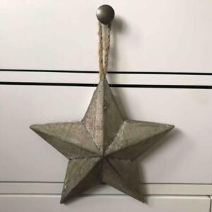 Small Country Style Rustic Grey Washed Barn Star 19CM