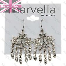 RETRO FLOWER marcasite CRYSTAL CHANDELIER EARRINGS vintage silver fashion FLOWER