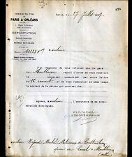 """PARIS (XIII°) CHEMIN DE FER de PARIS à ORLEANS """"Service EXPLOITATION"""" en 1909"""