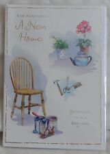 "GREETINGS CARD-MOVING HOUSE - ""HOW WONDERFUL! A NEW HOME"" - CHAIR/PAINT/FLOWERS"