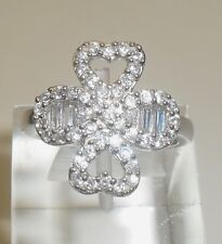 A BEAUTIFUL SOLID SILVER STONS SET RING