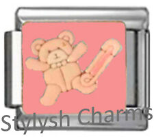 TEDDY BEAR BABY GIRL PINK Enamel Italian 9mm Charm NC246 Fits Nomination Classic