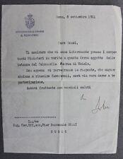 Autografo Lettera Deputato politica Marcello Soleri 1921 ministro finanze