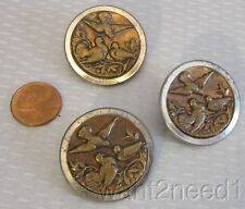 19C antique French mixed metal BIRD PICTURE BUTTONS SET 3 large 32mm