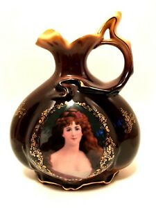 Fleur-de-Lys Victorian Pitcher Gold Detail Lovely Lady Portrait 8.5 inches Tall