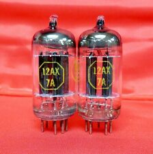 Vintage Raytheon 12AX7A PLATINUM++ GRADE Black Plate Preamp Tubes Matched Pair