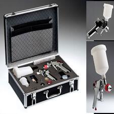 Profi-valigetta in alluminio con 2 HVLP lackierpistolen + 4 ugelli insiemi (0.8/1.0/1.4/1.8mm)