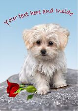 PERSONALISED MALTESE TERRIER ROSE MOTHERS DAY BIRTHDAY VALENTINE etc CARD