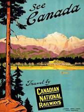 TRAVEL TRANSPORT CANADA RAIL TRAIN LAKE MOUNTAIN SCENIC TREE PINE PRINT CC2116