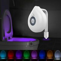 LED Toilet Seat Night Light Motion Sensor WC Light 8 Colors Changeable Lamp AAA