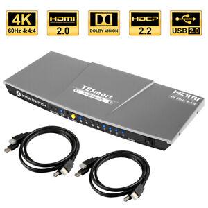 TESmart 4Port HDMI 2.0 KVM Switch 4K@60Hz 4:4:4 HDCP 2.2 USB 2.0 5ft/1.5m Cable