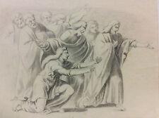 Scène religion Christ Jésus fusain XIXe anonyme ?
