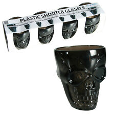 4 X SKULL SHOT GLASSES PLASTIC BAR PARTY FUN DRINKING WHISKY WINE BEER NEW GLASS
