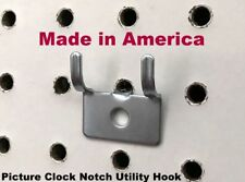"(10 PACK) Picture Clock Notch Utility 'J' Peg Hook. For 1/8 to 1/4"" Pegboard"