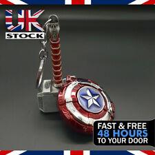 Thor Hammer Mjolnir & Captain America Shield Keyring/Keychain Marvel Avengers