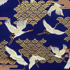 Japanese cranes fabric, metallic heron stork birds, gold blue, oriental chinese