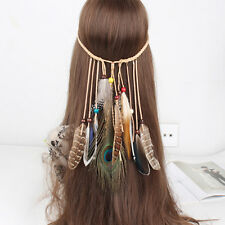 Indian Feather Headband Native American Headdress Hippie Headband Hair Accessory