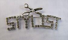 Silver Plated Rhinestone Crystal Hair STYLIST Scissors Pin Brooch Salon Gift
