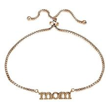 Rose Gold Tone over Sterling Silver Mom Polished Adjustable Bracelet