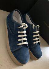 NIB $720 Bottega Veneta Men Suede Sneakers Shoes Blue 8 US ( 41 Eu ) Italy