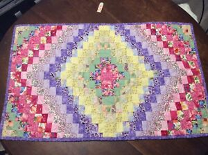 "Hand Quilted Rectangular Table Topper - 34"" X 21"""