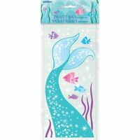 20 x Mermaid Tail Cello Gift Bags Girls Birthday Party Loot Goody Treat Empty