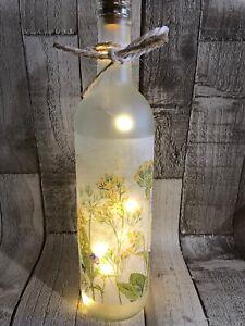 HANDMADE WILD FLOWER FLORAL DECOUPAGE LED LIGHT UP BOTTLE 7