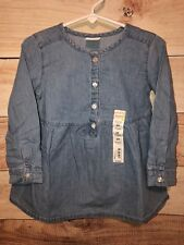 Jumping Beans Girls Blue Dress Size 3T Button Up Front Long Sleeves NWT LBB76