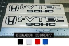 "Honda I-Vtech SOHC Decal Stickers Set of 2 Civic Accord Prelude CRX SI Black 9"""