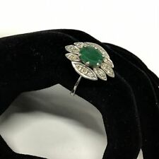 Silver Ring with Statement Green Stone & Clear Rhinestones #108