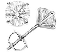 1.92 ct D VS1  Round Cut Natural Diamond Stud Earrings 14K White Gold Certified