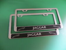 """(2)NEW """" JaguarHALO """" Stainless Steel license plate frame +screw caps"""