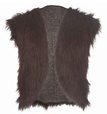 Adults Dark Brown Viking Faux Fur Waistcoat Mountain Man Fancy Dress L-xl