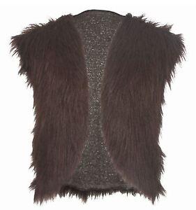 Adults Dark Brown Viking Faux Fur Waistcoat Mountain Man Fancy Dress