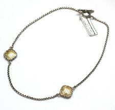 "New KONSTANTINO Two Tone Station Box Chain 17.5"" Necklace Toggle Clasp NWT"